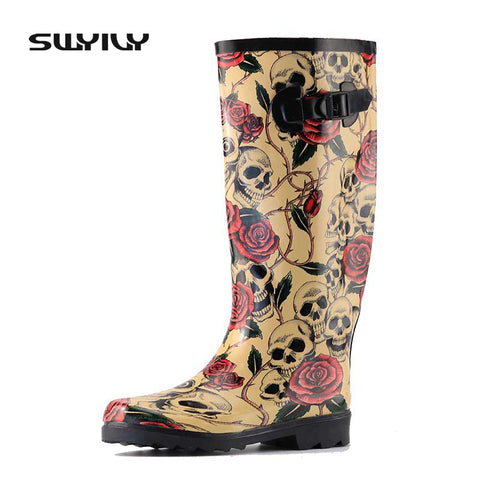 2017 Rose Skull Design Women Rain Boots Sexy Skeleton Head Wild Style Cool Rubber Boots Waterproof Individuality Rain Shoes