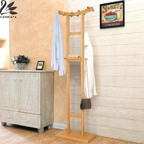 Crescent Double Pole Bamboo Bedroom Coat Stand