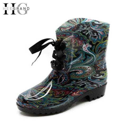 HEE GRAND Ribbons Rain Boots Women Ankle Boots Casual Platform Shoes Woman Lace-Up Flats Women Shoes Size 36-41 XWX4750