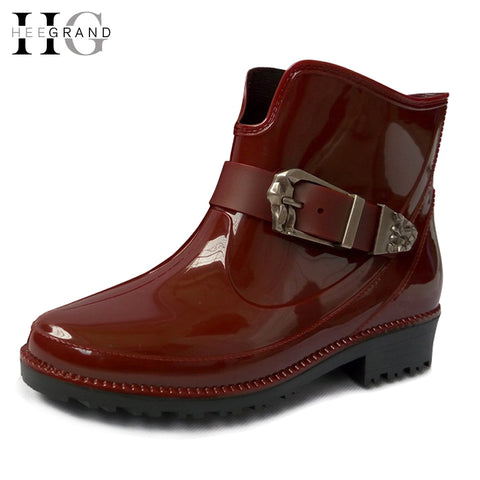 Fashion Rain Boots Buckle Platform Women Ankle Boots 2016 Casual Shoes Woman Slip On Flats Low Heels Women Shoes XWX4056