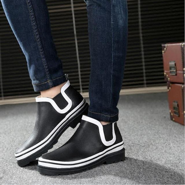 2017 korean version mens rubber rain boots fishing high quality rain shoes men fashion striped Ankle Rainboots man bota feminina