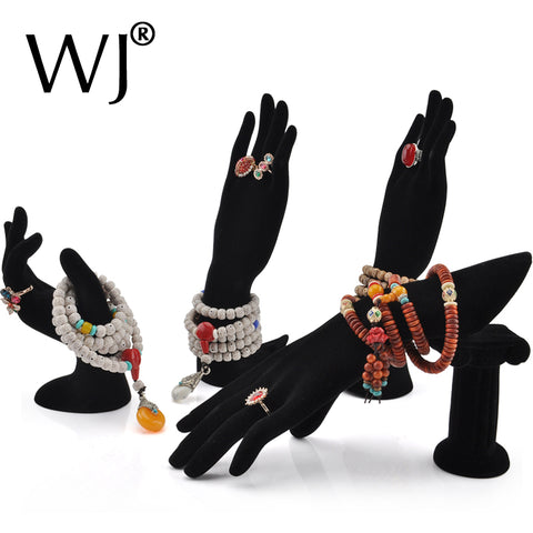4 Styles Female Mannequin Hand Finger Jewelry Glove Ring Bracelet Display Stand Rack Necklace Hand Holder Organizer Black Velvet