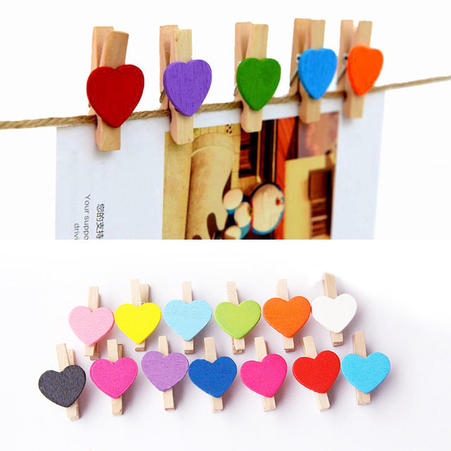 50Pcs Art Crafts Wooden Mini Sweet Love Heart Shape Clips Message Photo Holder Card Paper Pegs Decor Supplies 2017ing