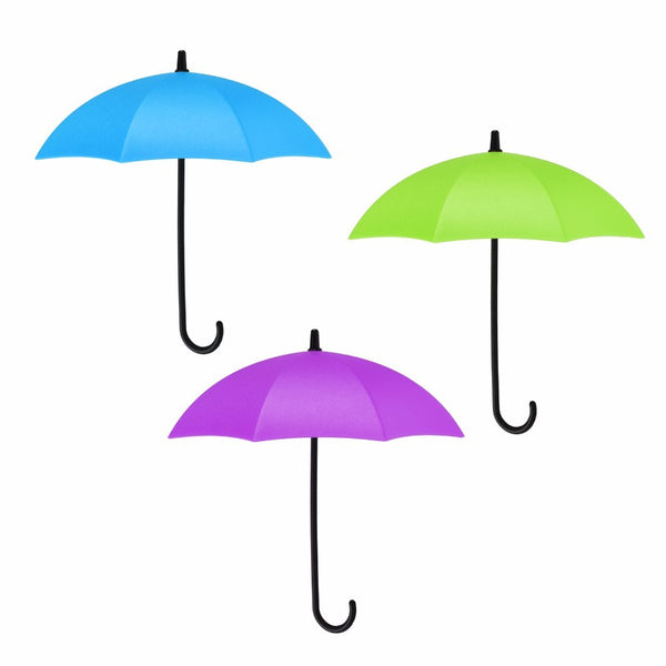 Umbrella Shape Plastic Wall Adhesive Nail-pegging 3pcs Decorative Hook Decoration Wall-hook