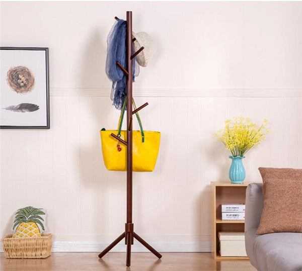Sturdy Floor Standing Wooden Coat Rack Solid Rubber Wood Hall Tree Coat Tree with Tripod Base 7 Hooks Clothes Rack Coat Stand