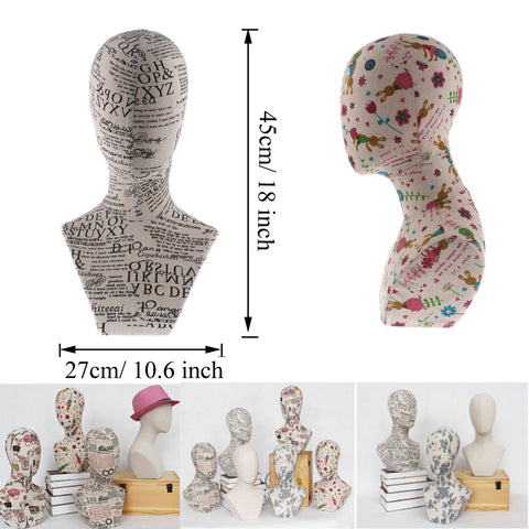 Patterned Mannequin Head Display Stand