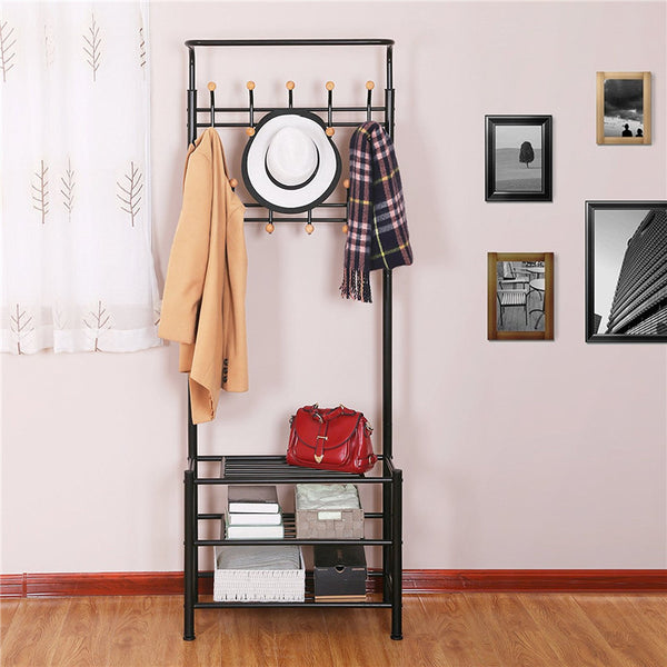 Metal Clothes Rack with Shoes Storage Shelves