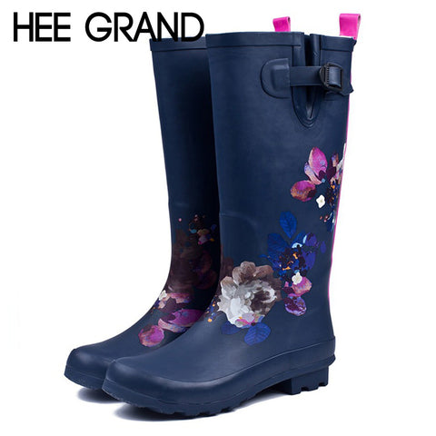 Blue Wellies with Pink Flowers