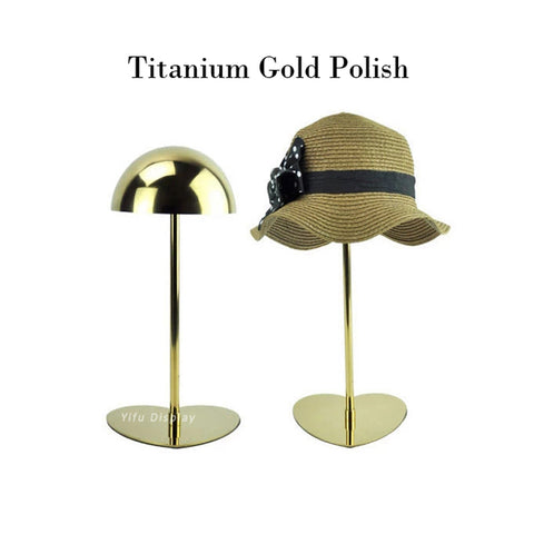 Free shipping Gold Metal Hat display stand polish hat display rack hat holder cap display HH002-Titanium gold polish