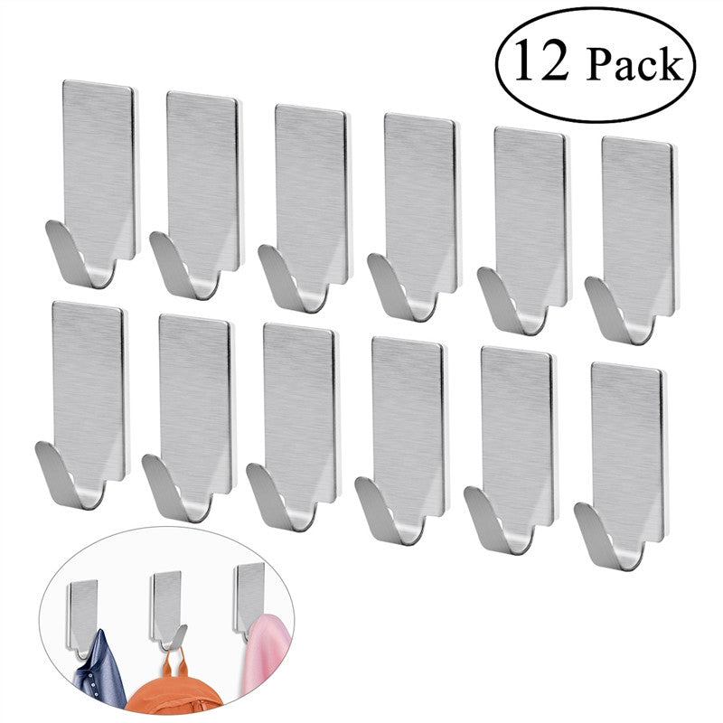 NUOLUX 12pcs Adhesive Stainless Steel Towel Hooks Towel Racks Wall Hooks for Kitchen Bathroom