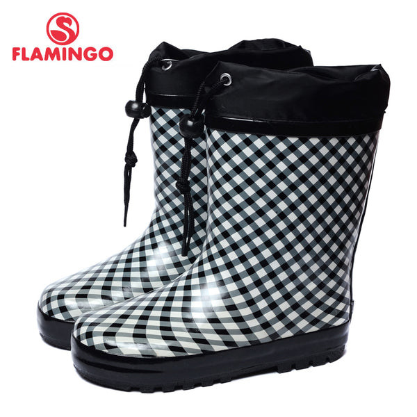 FLAMINGO branded 2017 new collection spring-autumn fashion gumboots with wool quality anti-slip kids shoes for girls 71-HL-0006