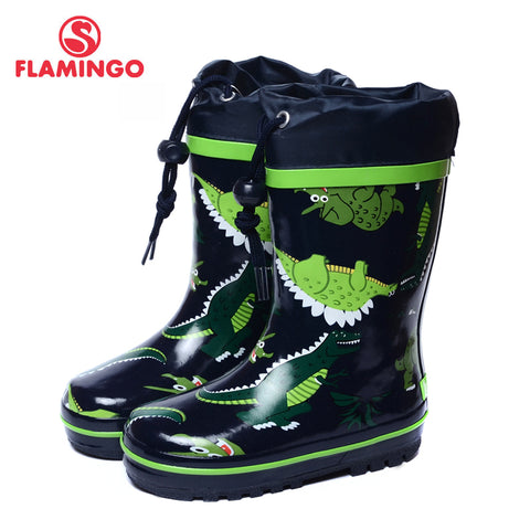 FLAMINGO branded 2017 new collection spring-autumn fashion gumboots with wool quality anti-slip kids shoes for boys 71-HL-0014