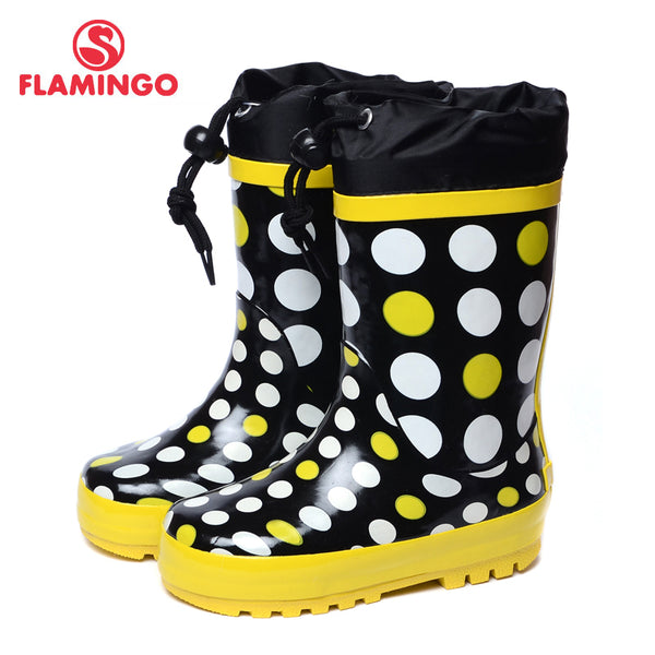 FLAMINGO branded 2017 new collection spring-autumn fashion gumboots with wool quality anti-slip kids shoes for girls 71-HL-0010