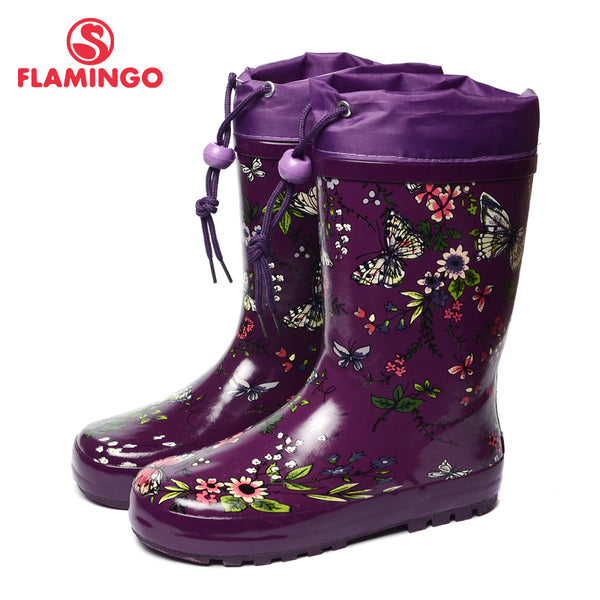 FLAMINGO branded 2017 new collection spring-autumn fashion gumboots with wool quality anti-slip kids shoes for girls 71-HL-0009