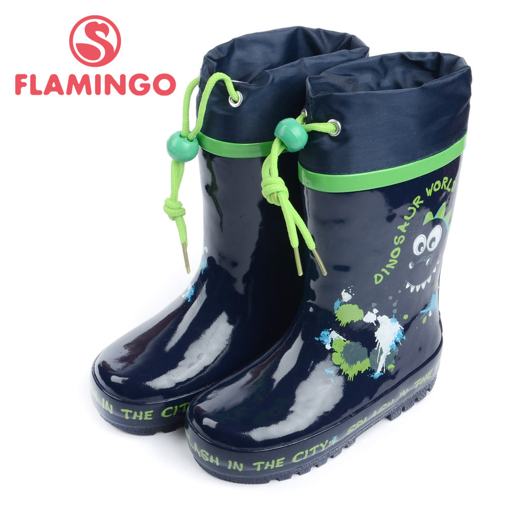 FLAMINGO famous brand 2017 new collection spring-autumn fashion gumboots with wool quality anti-slip kids shoes for boys W5502