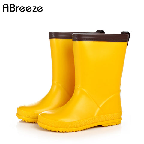Children boys girls spring summer boots 2018 new Japanese style yellow dinosaur matching pvc rubber rainboots