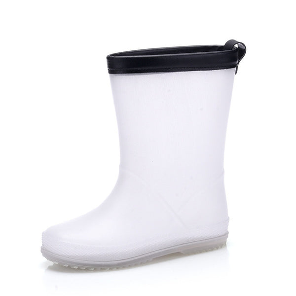 Quality children girls rainboots 2018 new style Korea style white-black PVC rubber boots shoes