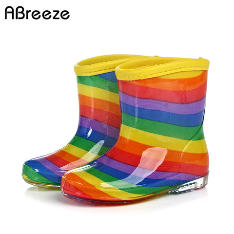 13-21 cm Children boots summer autumn rainbow style colorful rainboots for kids girls boys fashion shoes