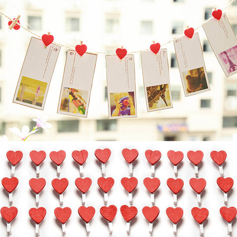 50Pcs/Pack Wedding Mini Love Heart Wooden Clips For Photo Paper Clothespin Craft Decoration Pegs Supplies 2017ing
