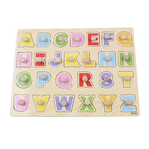Wooden Peg Puzzle Capital Letter Shapes