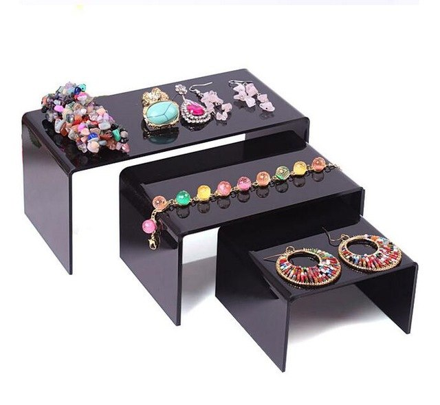 3pcs Clear Black Jewelry Display Stand made in Acrylic
