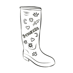 Wellington Boot Outline with Stickers