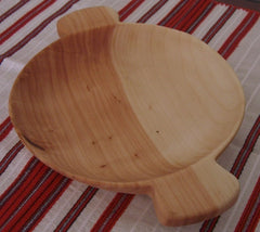Handcarved wooden bowl - Bowl with two handles