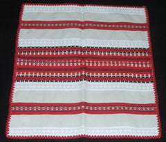 Handwoven doily - red stripes 35x35