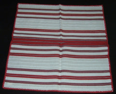 Handwoven doily - red stripes 45x45