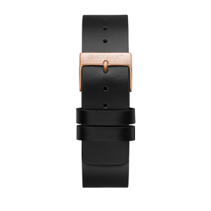 LICORICE BLACK LEATHER STRAP (GOLD BUCKLE)