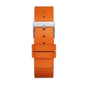 TANGERINE LEATHER STRAP (SILVER)