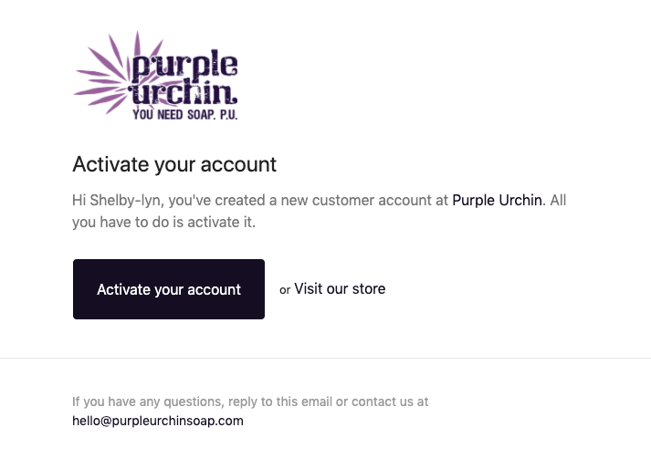 Activate your Customer Account for Purple Urchin's Loyalty Points Program