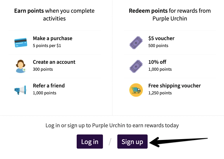 Sign up for a Customer Account with Purple Urchin's Loyalty Points Program