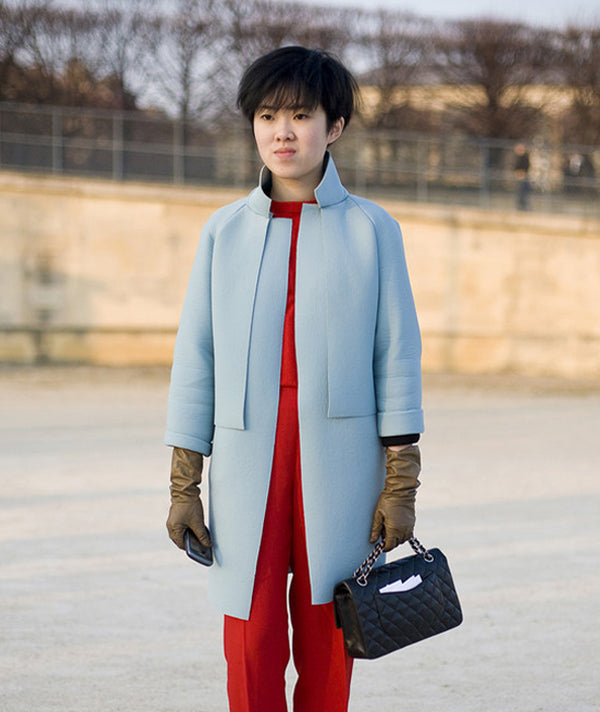 baby blue coat and red suit-girl- street style