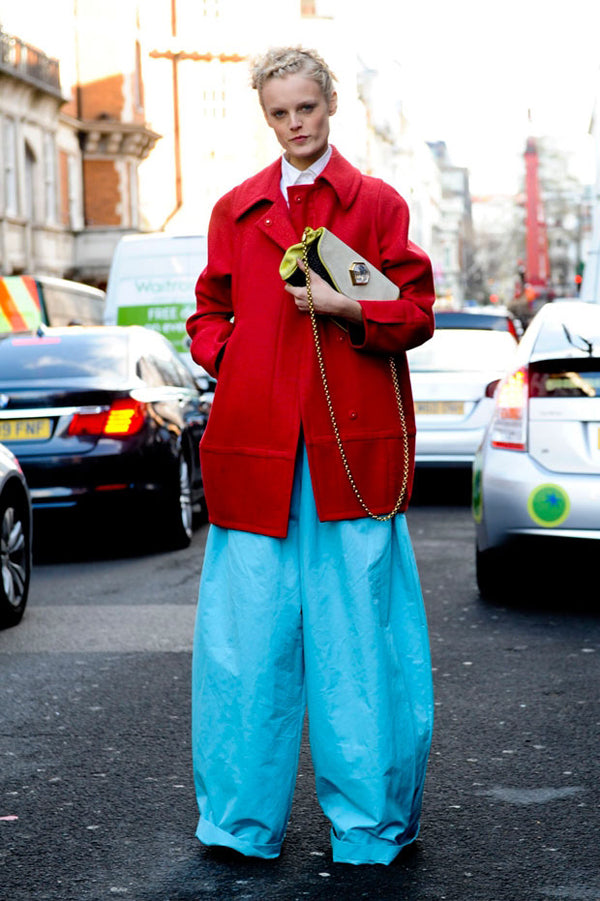 hannegabyblockcolor- bright baby blue pants and red coat