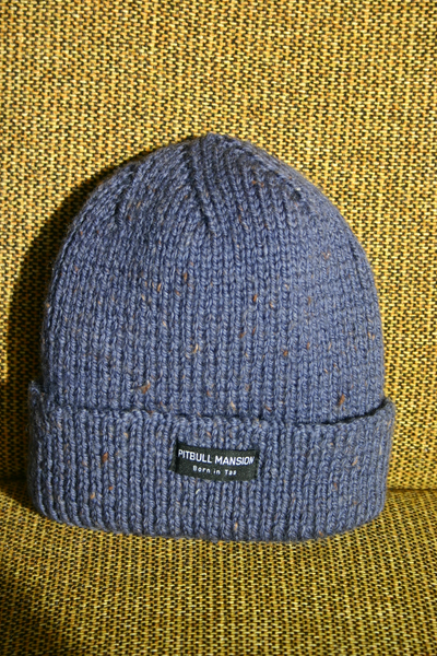 PITBULL MANSION CHUNKY KNIT BEANIE - BLUE FLECK
