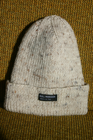 PITBULL MANSION CHUNKY KNIT BEANIE - NATURAL