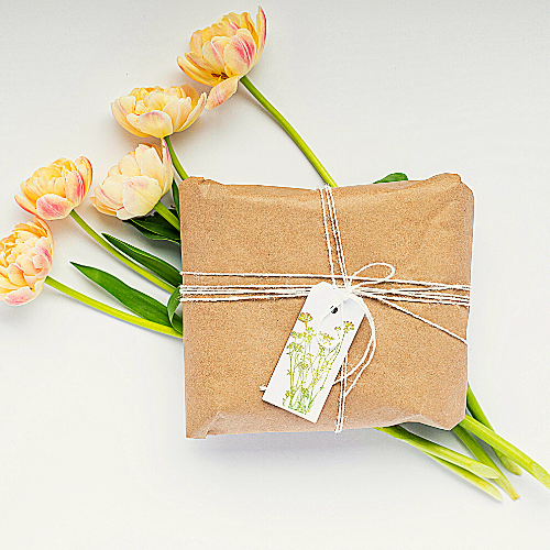 Brown Paper Package with Mom's Favourite Things