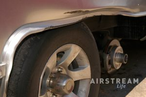 Airstream body damage due to tire