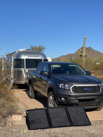 Airstream with portable solar panel