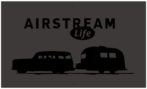 Black/black Airstream Life vintage trailer t-shirt