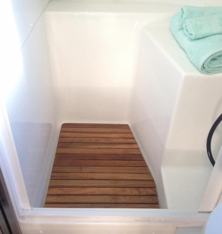 Wonderful Corner Bath Airstream Teak Shower Mat
