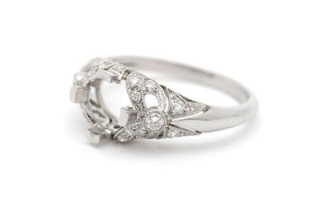 Platinum Handmade Filigree Engagement Ring Setting- 130-905 - Craig Coyne Jewelers, Inc.