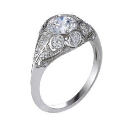 Platinum Handmade Filigree Engagement Ring Setting- 130-1082 - Craig Coyne Jewelers, Inc.