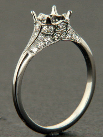 Platinum Handmade Filigree Engagement Ring Setting- 130-919 - Craig Coyne Jewelers, Inc.