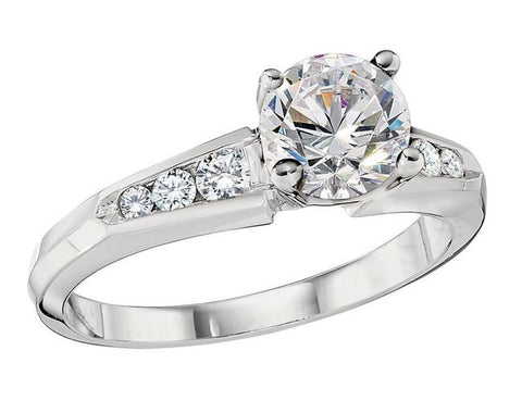 Die Struck Diamond Channel Engagement Ring Setting - 130-01150