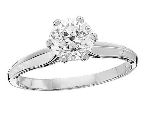 Die Struck Six Prong Solitaire Engagement Ring Setting - 130-01148