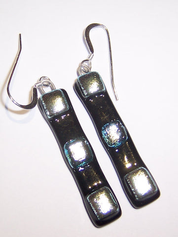 Black and Silver Drop Earrings Large