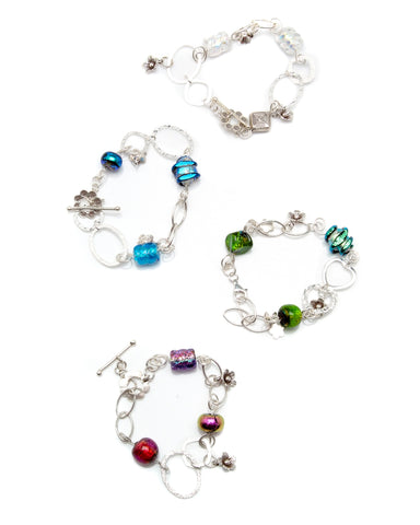 Dichroic bead and sterling silver bracelets