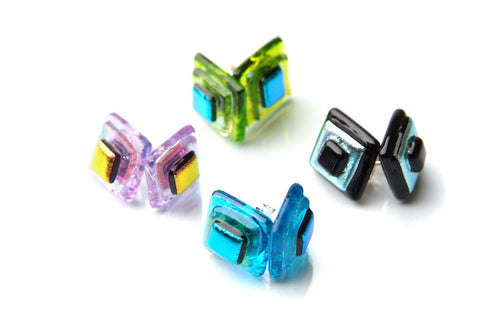 Large Square Layered Stud Earrings